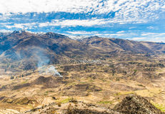Colca Canyon, Peru,South America. The Incas  to build Farming terraces  with Pond and Cliff. One of the deepest canyons in the wor Royalty Free Stock Photos