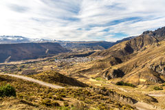 Colca Canyon, Peru,South America  The Incas  to build Farming terraces  with Pond and Cliff  One of the deepest canyons Royalty Free Stock Images