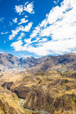 Colca Canyon, Peru,South America.  Incas to build Farming terraces with Pond and Cliff. Stock Photos