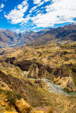 Colca Canyon, Peru,South America. Incas to build Farming terraces with Pond and Cliff. One of deepest canyons in world Royalty Free Stock Photos