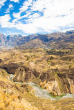 Colca Canyon, Peru,South America. Incas to build Farming terraces with Pond and Cliff. One of deepest canyons in world Royalty Free Stock Image