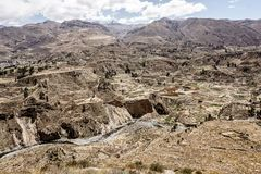 Colca Canyon, Peru. Vew of teraces built by pre-inca society Royalty Free Stock Image