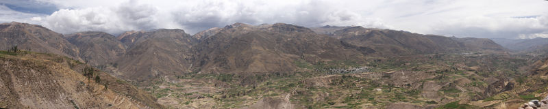 colca Canyon and Valley Panorama Royalty Free Stock Photo