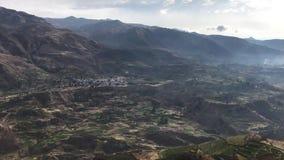 Colca river canyon terraces stock video