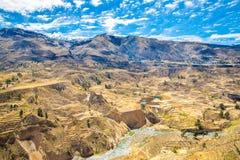 Colca-Schlucht, Peru, Südamerika.  Inkas, zum der Landwirtschaft von Terrassen mit Teich und Klippe aufzubauen. stockbilder