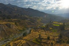 Colcacanion en Rivier, Arequipa, Peru royalty-vrije stock afbeelding