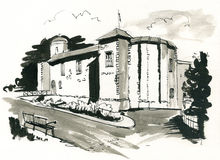 Colchester Castle. Pen and ink illustration of Colchester Castle in England Royalty Free Stock Image
