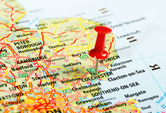 Colchester  UK  map pin. Colchester  England  ,United Kingdom  map  and  pin - Travel concept Stock Photo