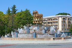 Colchian Fountain on the central square of Kutaisi, Georgia. Colchian Fountain on the central square of Kutaisi with copies of statues found at Kolkhida stock photo