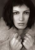 Cold. A model wearing a winter fur coat Royalty Free Stock Photo