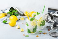 Cold alcohol mojito cocktail, long drink beverage, lemonade stock images