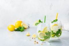 Cold alcohol mojito cocktail, long drink beverage, lemonade royalty free stock images