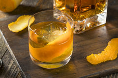 Cold Alcoholic Old Fashioned Bourbon Whiskey Cocktail Stock Photography
