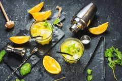 Cold alcoholic summer citrus cocktail with orange and mint in glasses and on dark stone background. Cocktail making bar tools, sha Royalty Free Stock Photos