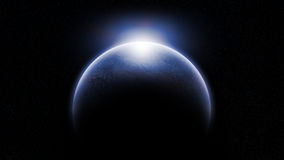 Cold Alien Planet. Cold and unknown alien planet with glowing atmosphere in the dark space environment with subtle stars on the background Stock Images