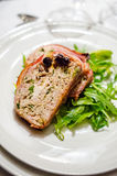 Cold appetizer with chicken terrine and cherry sauce Stock Image