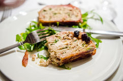Cold appetizer with chicken terrine and cherry sauce Royalty Free Stock Photos