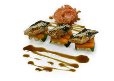 Cold appetizer of fish with vegetables Royalty Free Stock Image