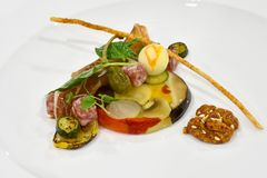 Fine Dining Cold Appetizer Display: Cold Appetizer: Iberico Ham. Cold Appetizer: Iberico Ham and Salami Pickled Vegetable Terrine. Served with apricot cheese Royalty Free Stock Photography