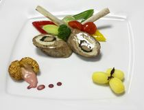 Cold appetizer of meat with vegetables Royalty Free Stock Photos
