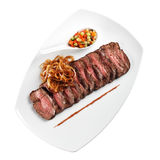 Cold appetizer of meat (white background). Cold appetizer of meat, on a plate on white background Stock Photo