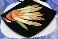 Cold appetizer of shrimp with vegetables Royalty Free Stock Image