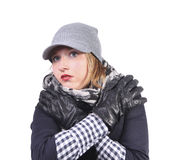 Cold attractive girl Royalty Free Stock Image