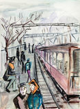 Cold autumn day. People waiting train Stock Images