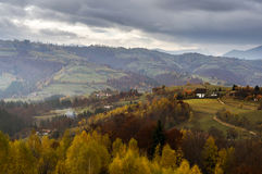 Cold autumn evening in the Carpathian mountains Stock Photo