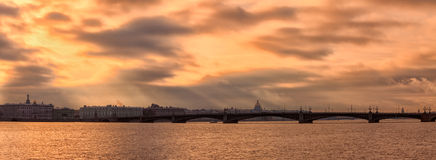 Cold autumn evening in St. Petersburg Stock Photo