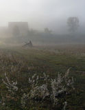 Cold autumn morning at the edge of a village Stock Photos
