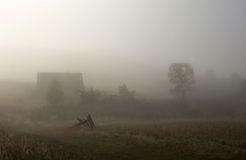 Cold autumn morning at the side of a village Stock Photography