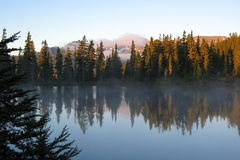 Cold Autumn Sunrise at Kwai Lake, Strathcona Provincial Park, Vancouver Island Royalty Free Stock Image