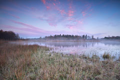 Cold autumn sunrise over wild lake Royalty Free Stock Photography