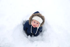 Cold Baby in Winter Snowsuit in Snow Stock Photography
