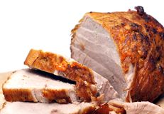 Cold baked pork. With white background on the table Stock Photography
