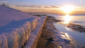 Cold Baltic sea in winter with icy beach stock video footage