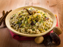 Cold barley salad with dates Royalty Free Stock Image