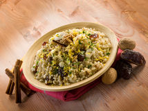 Cold barley salad with dates Royalty Free Stock Images