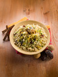 Cold barley salad with dates Royalty Free Stock Photos
