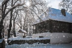 Cold but beautiful winter day in a Romanian Village royalty free stock photo
