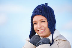 Cold beautiful young  woman wearing woolen beanie Royalty Free Stock Photography