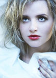 Cold beauty. Beautyful woman on cold colour Royalty Free Stock Images