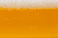 Cold beer. Close up of drink with bubbles and froth Royalty Free Stock Photos