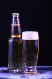 Cold beer. Cold Bottle and glass of beer royalty free stock photos