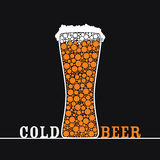 Cold beer art vector on black Stock Photography