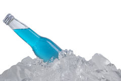 Cold beer with blue color in the bottle Stock Photo