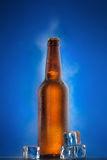 Cold beer bottle with drops on blue Stock Photos