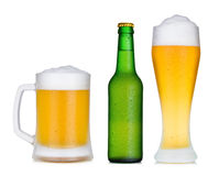 Cold beer bottle and glass set Stock Images