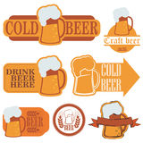 Cold beer grunge labels Stock Photo